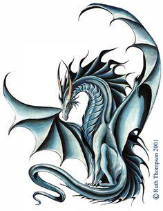 tatuaje-de-dragon-azul-cuernos-2517.jpg (354×458)