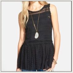 Free People Lace Peplum Top I love this top but it's a tad short on me. Never worn and NWT Free People Tops Tank Tops