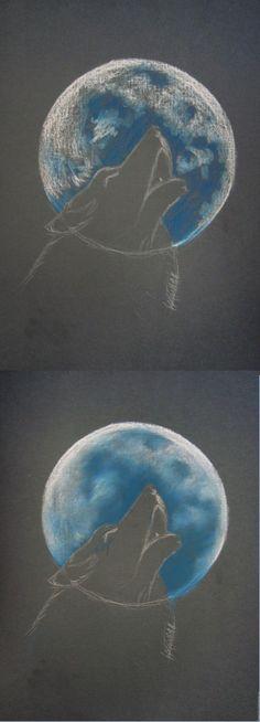 «Волк, воющий на луну» в технике сухая пастель - Ярмарка Мастеров - ручная работа, handmade