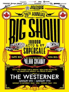 #RedDeer & Area! Come On Down To the #Westerner For #Southside's 26th Annual Indoor Auto & RV Super Sale!! January 8th-17th! New And Used Cars, Recreational Vehicles, Dodge, Rv, January, Indoor, Interior, Motorhome, Camper Van