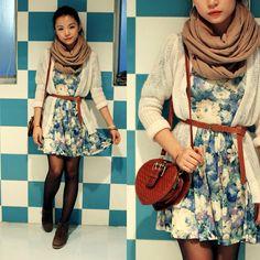 floral dress & white cardigan + infinity scarf & satchel...