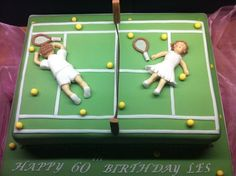 Birthday Tennis cake with puffed out players and balls everywhere! Horse Birthday Parties, Dad Birthday Cakes, 60th Birthday, Happy Birthday, Tennis Decorations, Tennis Crafts, Rodjendanske Torte, Tennis Cake, Retirement Cakes