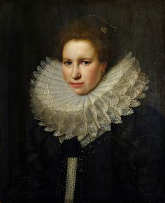 Love the lace collar edges and the pearls. Michiel van Miereveld - Portrait of a Woman [1618]