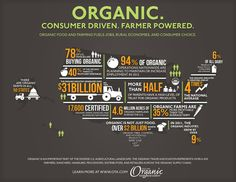Organic Food Infographic -I like how typographic formed into the shape draws your attention to the data Illustrator-unknown Organic Farming, Organic Gardening, Gardening Tips, Organic Market, Planning Budget, Meal Planning, Organic Lifestyle, Healthy Lifestyle, Organic Living