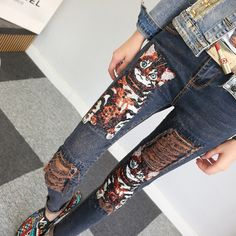 42.77$  Watch now - http://ai7cy.worlditems.win/all/product.php?id=32798267618 - Luxury Skinny Jeans 2017 Spring Summer New Fashion Slim Zipper Cat Sequined Embroidery Vintage Holes Sequined Pencil Pants