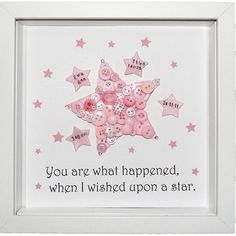 Personalised Star for Girls Button Picture Keepsake.   £28.00