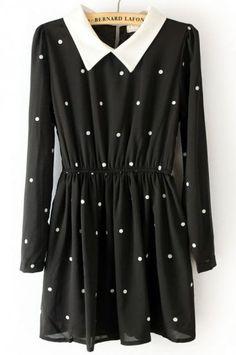 Black Contrast Collar Elastic Waist Polka Dot Dress - Sheinside.com