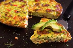 Dairy-Free Bacon Zucchini & Red Pepper Frittata - sub apple chicken sausage and water