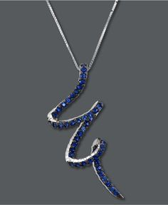 Le Vian 14k White Gold Necklace, Sapphire Pendant (9/10 ct. t.w.) - Necklaces - Jewelry & Watches - Macy's