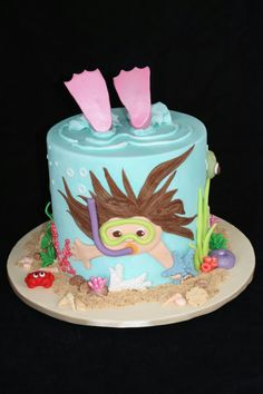 by applegum kitchen by Cindy Cannon Pretty Cakes, Cute Cakes, Poll Party, Fondant Cakes, Cupcake Cakes, Swimming Cake, Pool Party Cakes, Sea Cakes, Summer Cakes