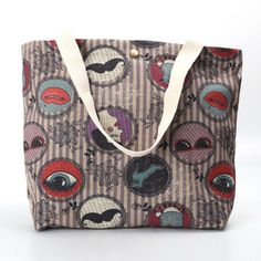 cartoon printed cotton linen shopping bags ladies tote bags