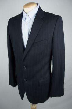 HUGO BOSS Mens Blazer 42 R Navy Pin Stripe 100% Wool Classic 2 Button Jacket