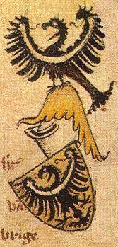 Herb księcia brzeskiego Ludwika I, z Herbarza Geldrii (ok. 1370–1395)Ludovicus Dux Brieg Armorial Gelre