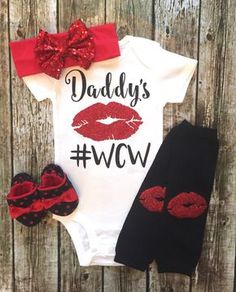 Baby Girl Bodysuit Daddy's WCW Bodysuit For Baby by BellaPiccoli