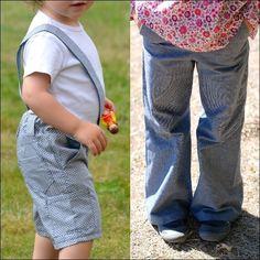 Bermuda ou pantalon patte d'éph à bretelle amovible (facultative) pour les garçons aussi bien que pour les filles! L'ouverture devant façon braguette est conçue SANS fermeture éclair, et le dos élastiqué est ajustable. De petites poches sur les côtés (facultatives)