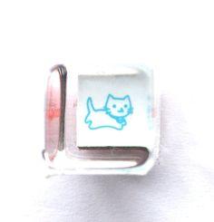 Japanese Rubber Stamp - Cute Cat Rubber Stamp - Mini Mini Size