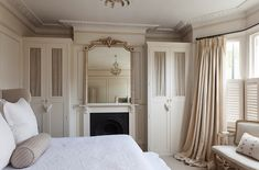 love this idea for cottage bedroom without closets. detailed European bedroom with built-in wardrobes