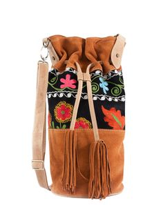 ‏Hippie Chic Hobo Bag Genuine Tan Suede