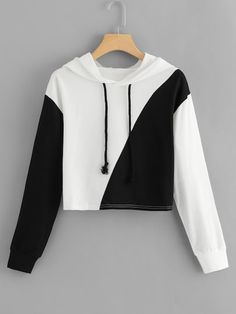 To find out about the Cut And Sew Hoodie at SHEIN, part of our latest Sweatshirts ready to shop online today! Girls Fashion Clothes, Teen Fashion Outfits, Outfits For Teens, Fashion Edgy, Fashion Black, Women's Clothes, Fashion Styles, Fashion Boots, Fashion Ideas