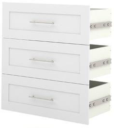 "Bestar - Pure White 3 Drawer Set For 36"" Storage Unit - 26161-1117"