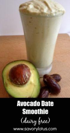 Avocado Date Smoothie (dairy free) - savorylotus.com #smoothie #dairyfree #avocado #paleo #recipes