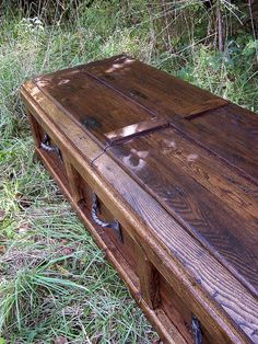 Reclaimed Wood Custom Casket with Wrought by BarnWoodFurniture Reclaimed Lumber, Reclaimed Wood Furniture, Pet Caskets, Funeral Caskets, Wood Shop Projects, Pallet Projects, Wood Bar Stools, Gothic House, Wood Creations