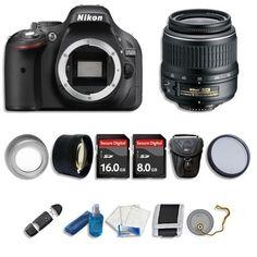 Nikon D5200 Digital SLR Camera +3 Lens 18-55mm +24GB GREAT VALUE NEW DSLR KIT #Nikon