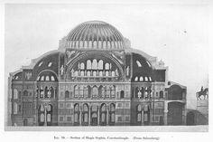 Elevation-drawing of Hagia Sophia. | Hagia Sophia ...