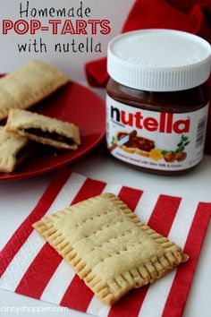 Homemade Pop-Tarts with Nutella. Great for on the go breakfast, summer snacks, back to school lunches and after school snacks.