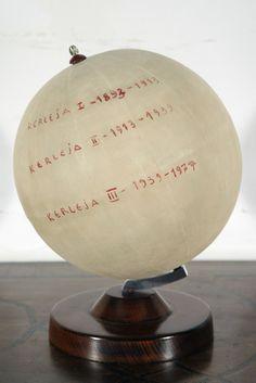 "Dimitrije Bašičević (Mangelos). Kerleja I, II, III. 1977-78. Gouache on paper over wooden globe. 11 3/8"" x 8 1/4"" (29 x 21 cm). Inv. 2311."
