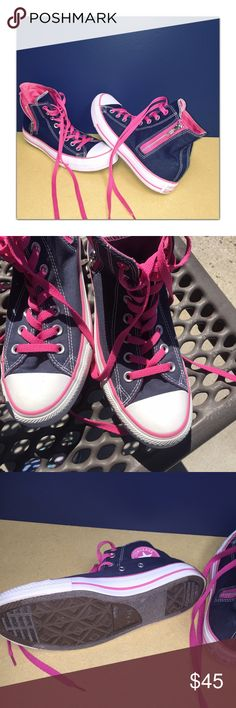 Converse Sneakers Converse with zipper on side. Excellent used condition. Does has very minor wear on front of shoe can easily be touched up Converse Shoes Sneakers