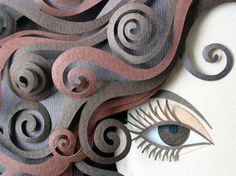 paper art sculpture of face