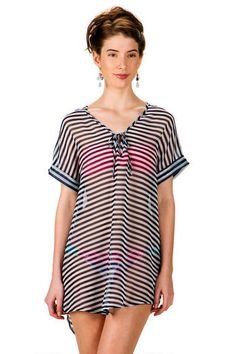 Laguna Beach Striped Swim Cover-Up #Francescas #PacificPlace #SeattleShopping