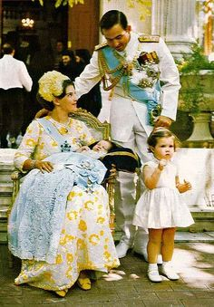 Birth of Crowned Prince Pavlos of Greece and Denmark.  In the photo King Constantine II of Greece.  Queen Anne-Marie holding the Prince and Princess Alexia, first child of the royal couple, standing in front. 1967