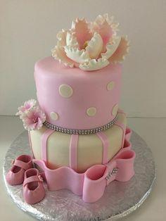 Baby Shower Cake   Magnolia   booties   Gallery   Sugar Divas Cakery   Orlando   Cupcakes   Custom Cakes  Www.sugardivascakery.com