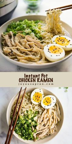Instant Pot Chicken Ramen Soup - easy and delicious Asian noodle soup recipe! A healthy comfort food for the cold Fall and winter days. Ramen noodles, shredded chicken, green onions and boiled eggs in a flavorful delicious broth. #noodles #instantpot #Asian #soup #bowl #easydinner #chicken #quickmeals #comfortfood #recipe #joyousapron