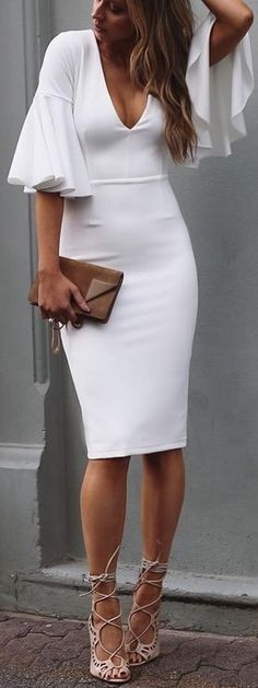 #summer #cool #outfits | Midi White Dress Bell Sleeve Dress, Mommy Style, Stylish Outfits, Stylish Clothes, Casual Dresses, Sexy Dresses, Mommy Fashion, Homecoming, Sewing Ideas