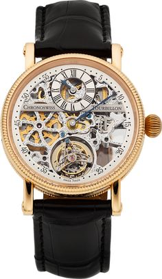"""Chronoswiss Ref CH 3121 SR Rose Gold """"Skeletonized Régulateur Tourbillon"""" No. 03, circa 2002 Case: No. 03, 18k pink gold, three body, polished and brushed, fluted bezel and back rim, transparent screw down case back, straight lugs, gold screwed bars, 38 mm, sapphire crystals"""