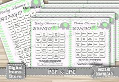 30 Printable Bingo Game Cards - Baby Shower Bingo Game with Elephant in Green and Gray Theme with Green Chevron - Instant Download - eg1 by DigitalitemsShop on Etsy