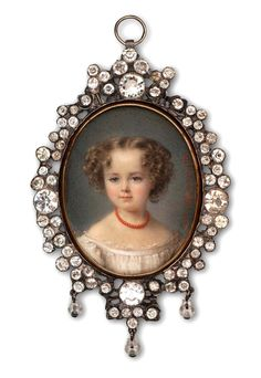 "Circa, 1862. Four year old Emma Marie DePolignac, as painted by Cecile Villeneuve. Note the necklace; children were often dressed in coral to protect them from evil. This tradition was inspired by ancient Egyptians, who believed that each coral piece contains a drop of divine blood. That ""blood"" was thought to repel evil spirits and was routinely placed in tombs."
