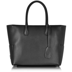 MCM Designer Handbags Munich Black Leather Medium Shopper (24.283.475 IDR) ❤ liked on Polyvore featuring bags, handbags, tote bags, black, leather tote bags, shopping tote, leather man bag, leather hand bags and leather tote shopper