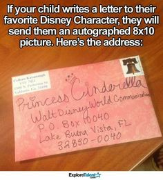 If your child writes a letter to their favorite Disney character, the character will reply with an autographed photo of themselves! The address is Walt Disney World Communications, P. Disney Trips, Disney Love, Disney Life Hacks, Disneyland Hacks, Disneyland Secrets, Punk Disney, Kids And Parenting, Parenting Hacks, Useful Life Hacks