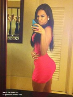 Hot babe sexy tight dress selfshot