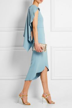 Antonio Berardi Light-blue stretch-crepe Concealed hook and zip fastening at back  50% rayon, 47% acetate, 3% elastane  Dry clean Made in Italy  Small to size. See Size & Fit notes.
