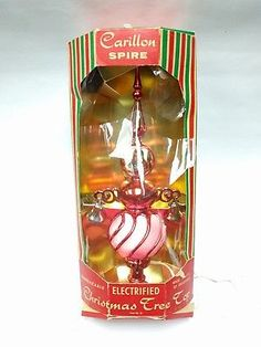 Vintage Mid Century Red Lighted Carillon Spire Christmas Tree Topper Glass
