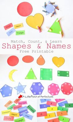I love this! Match, Count, & Learn Shapes & Names Printable for Kids -