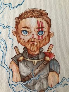 Thor Ragnarok - Caricature  Paint, watercolor, anime Caricature, Gabriel, Thor, Princess Zelda, Watercolor, Photo And Video, Anime, Painting, Fictional Characters