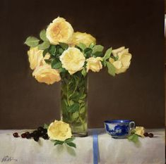 This has got to be my all-time favorite rose. I could paint it all day long. Swipe to see step-by-step. Still Life Images, David Austin Roses, Princess Margaret, Yellow Flowers, Glass Vase, Fine Art, Abstract, Gallery, Painting