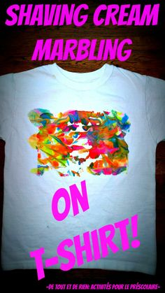 cream marbling on t-shirt! How fun is that?Shaving cream marbling on t-shirt! How fun is that? Painting Apron, Fabric Painting, Fabric Art, Shaving Cream Painting, Preschool Arts And Crafts, Cream T Shirts, Crafty Kids, Diy Shirt, Crafts To Make