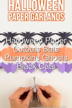These Halloween paper garland cutouts are SO CUTE and surprisingly simple to make This is such a fun Halloween craft for kids Even teens tweens adults and seniors would have fun making them Theyd look great hung up on a door on the walls or even in the window What a simple paper craft for kids and a great way to make some nonspooky DIY Halloween decor